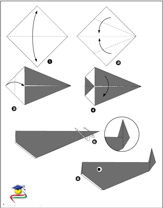 Оригами кит - схема